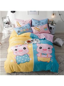 Cute Cartoon Pig Pattern Cotton 4-Piece Kids Duvet Covers/Bedding Sets