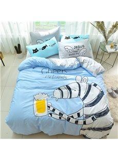 Creative Zebra Pattern Cotton 4-Piece Blue Kids Duvet Covers/Bedding Sets