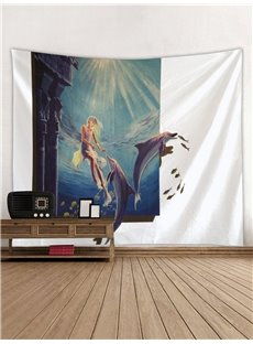 Mermaid and Dolphins Printing Decorative Hanging Wall Tapestry