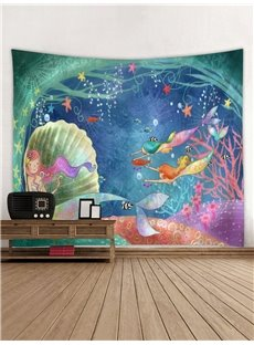 Mermaids Underwater World 3D Printing Decorative Hanging Wall Tapestry