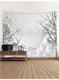 Grey Forest and Animal Printing Decorative Hanging Wall Tapestry