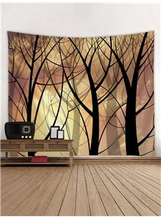 Black Woods Printing Polyester Decorative Hanging Wall Tapestry