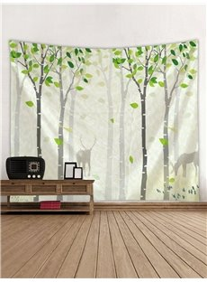 Green Forest and Deer Printing Decorative Hanging Wall Tapestry