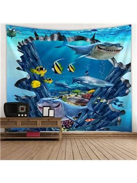 Shark and Fish Ocean World Printing Decorative Hanging Wall Tapestry