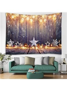 Light and Stars Merry Christmas Printing Decorative Hanging Wall Tapestry