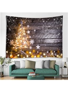 Glistening Christmas Tree and Snowflake Printing Polyester Decorative Hanging Wall Tapestry
