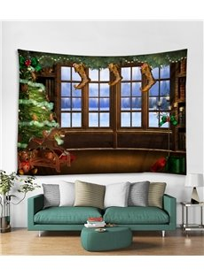 Christmas Stocking and Snow Scene Printing Decorative Hanging Wall Tapestry