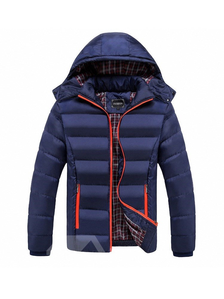Casual Style Thicken Color Block Zipper Straight Model Down Coat