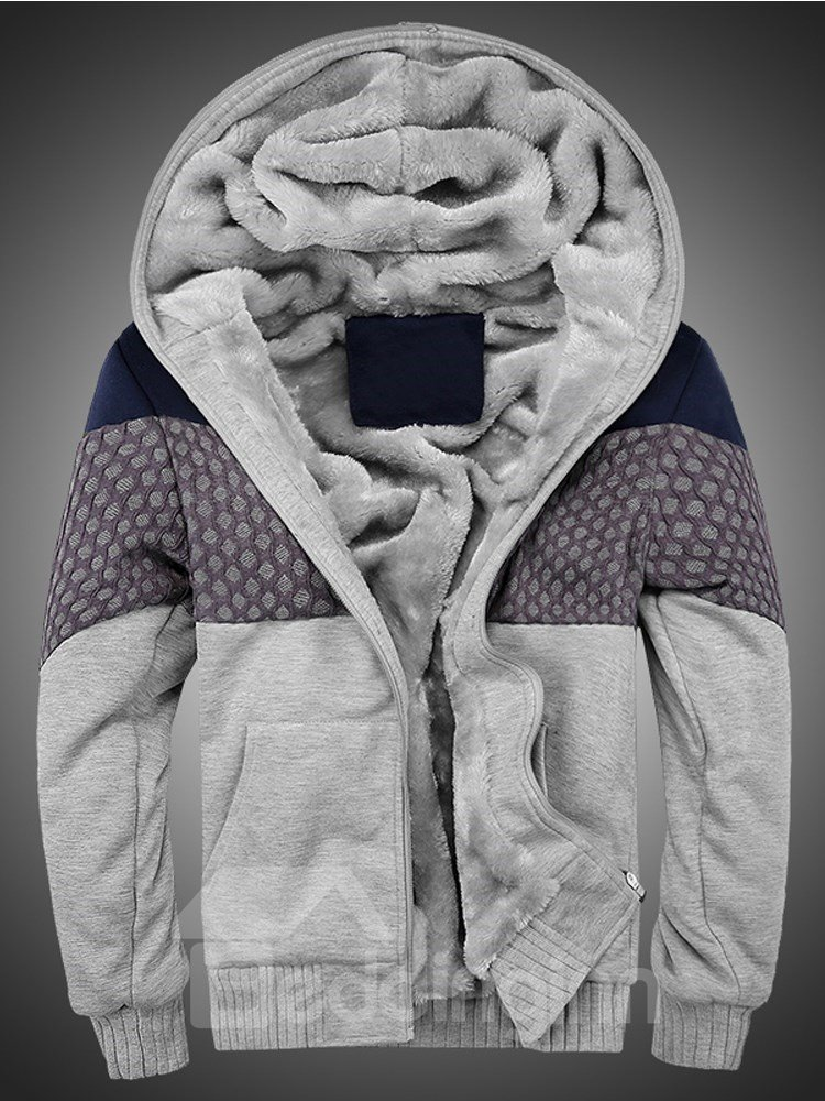 Zipper Cardigan Casual Style Hooded Color Block Down Coat