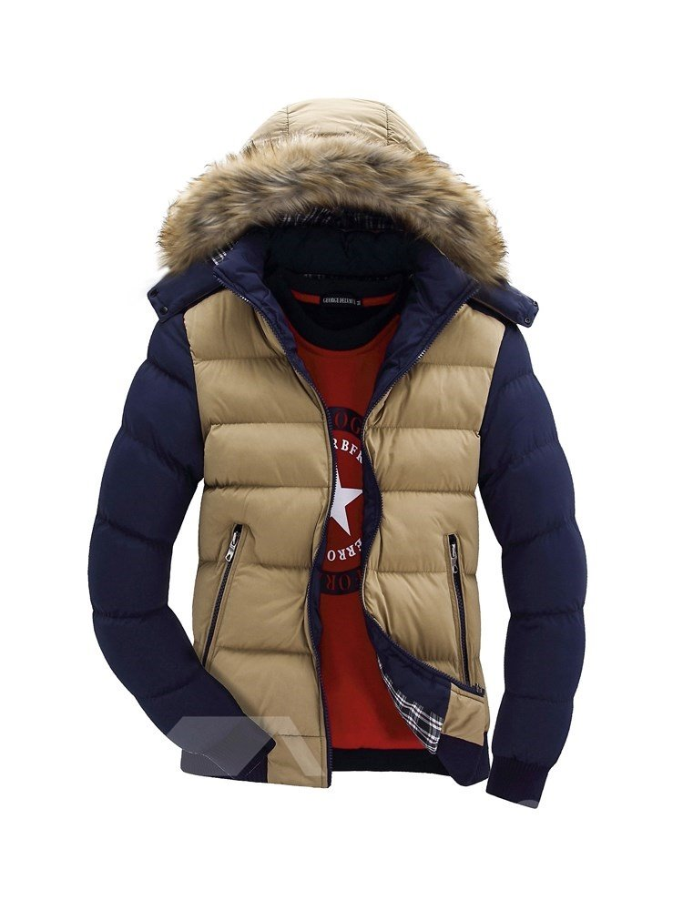 Hooded Casual Style Plain Thick Stand Collar Down Coat
