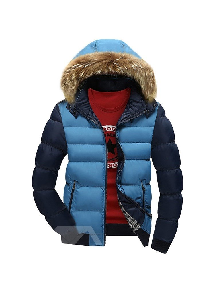 Hooded Slim Model Thicken Zipper Casual Style Down Coat