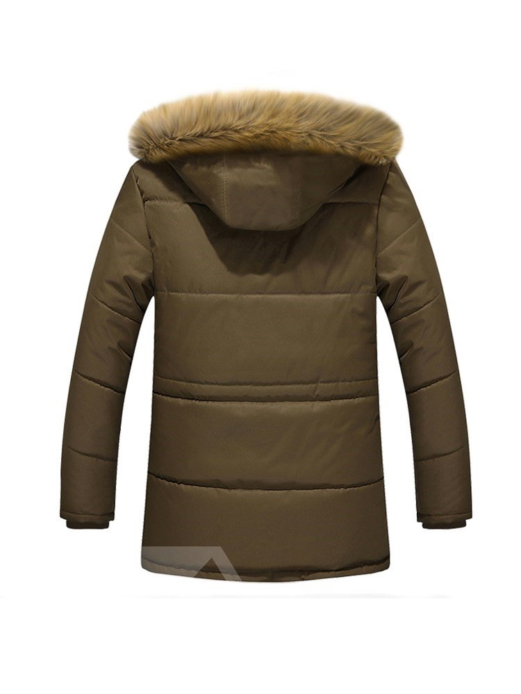 Thicken Casual Style Plain Stand Collar Zipper Down Coat