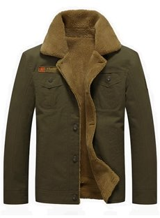 Thicken Lapel Single-Breasted Casual Style Winter Jacket
