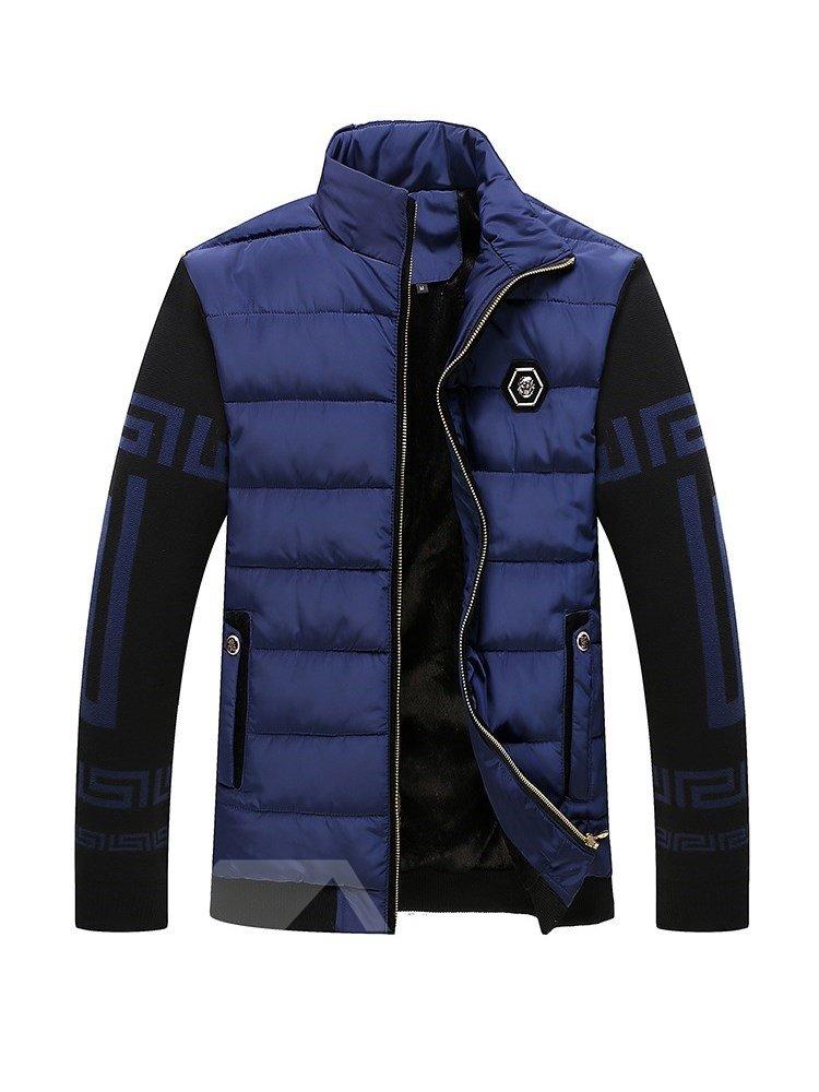 Lapel Slim Model Pure Color Thicken Cardigan Zipper Down Coat