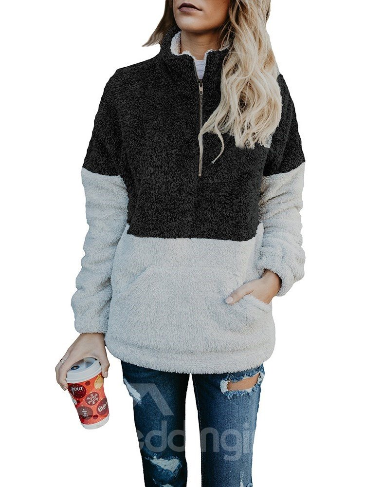 Zipper Pocket High Collar Pullover Street Style Slim Model Hoodie
