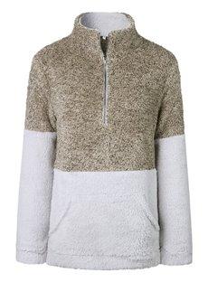 Zipper Pocket High Collar Pullover Street Style Slim Model Hoodie