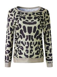 Pullover Round Neck Slim Model Print Leopard Hoodie