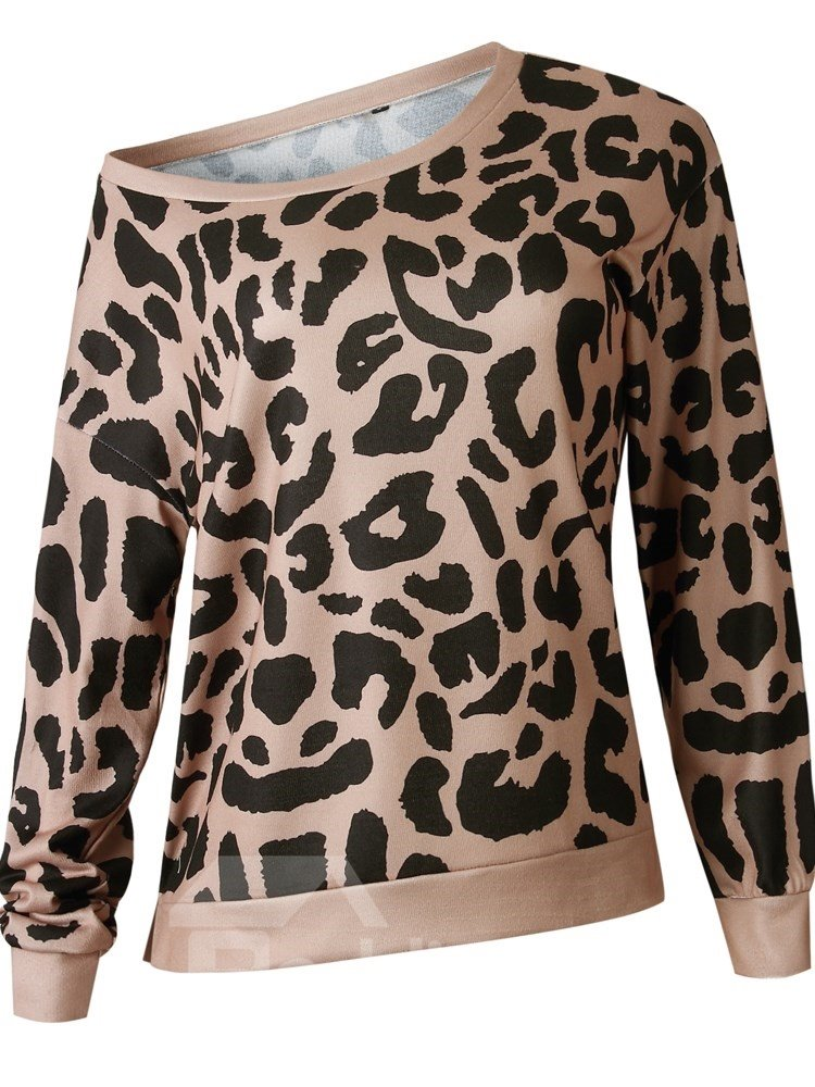 Pullover Thin Slim Model Leopard Print Fashion Style Hoodie