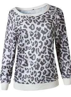 Sexy Leopard Pattern Round Neck Long Sleeve Slim Model Hoodie