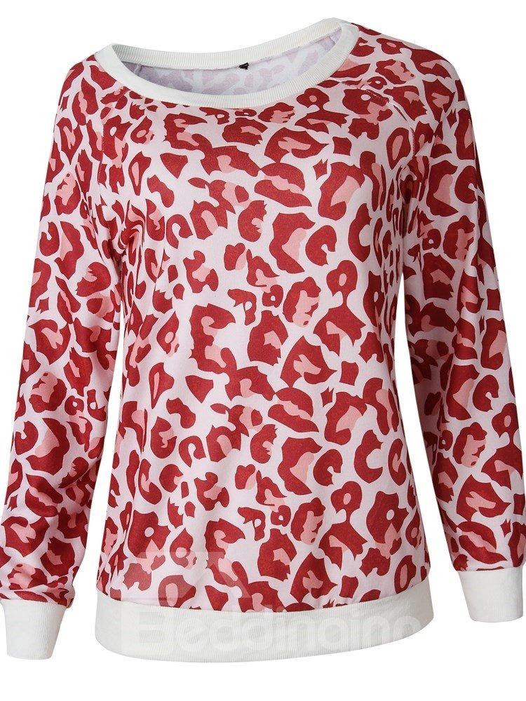 Sexy Leopard Pattern Round Neck Long Sleeve Slim Model Hoodie