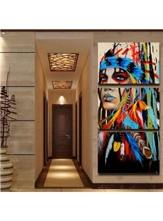 3 Panels Indian Girl Hanging Canvas Waterproof Eco-friendly Framed Prints