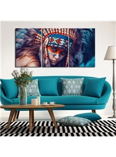 15.7*23.6in*3 Pieces Indian Girl Pattern Hanging Canvas Waterproof Eco-friendly Framed Prints