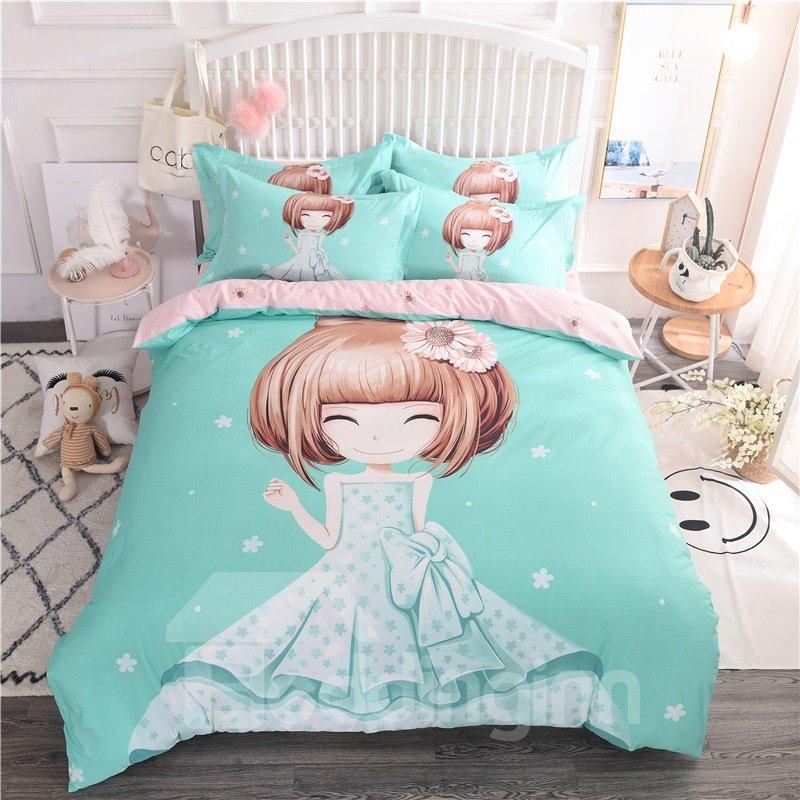 Green Short Hair Girl Pattern Cotton 4-Piece Kids Duvet Covers/Bedding Sets