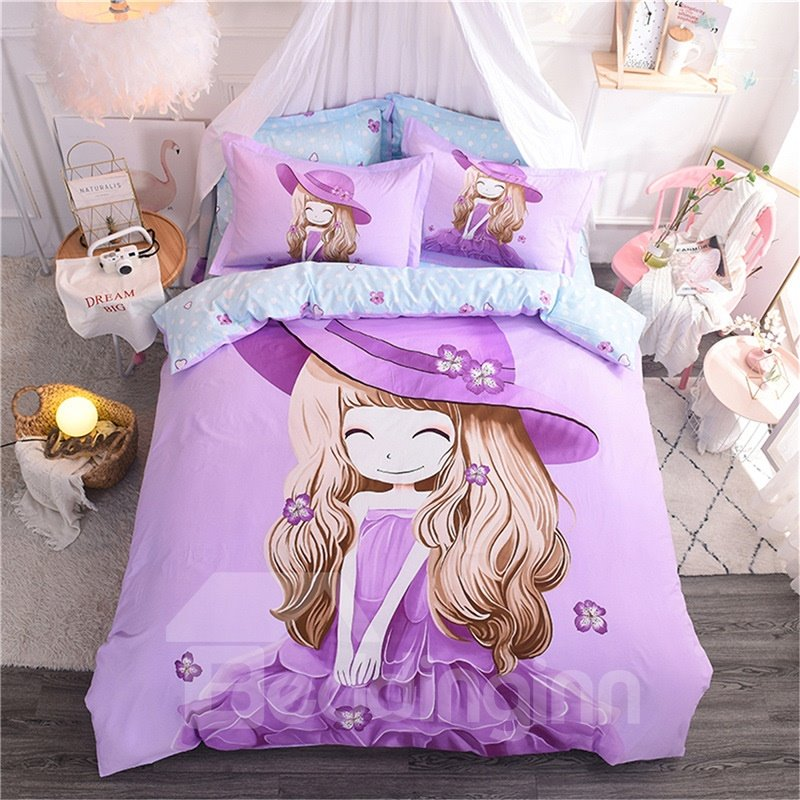 Purple Cute Cartoon Little Girl Pattern Cotton 4-Piece Kids Duvet Covers/Bedding Sets