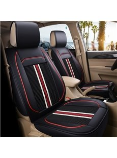 Classic Stripe Pattern PU mixed Flax Material Front Single-seat Universal Car Seat Cover