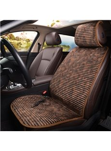 Electrical Heating leopard print Front Single-seat Universal Car Seat Cover