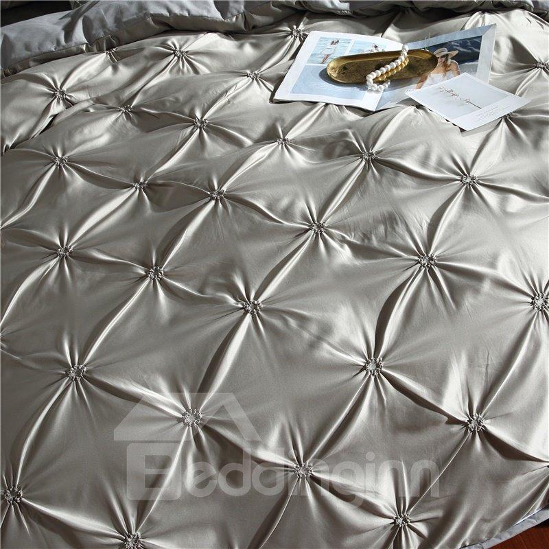 Pure Color Unique Pintuck Pleat Style Polyester 3-Piece Bedding Sets/Duvet Covers