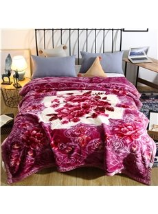 Crown and Diamond Floral Printing Purple Flannel Fleece Bed Blanket