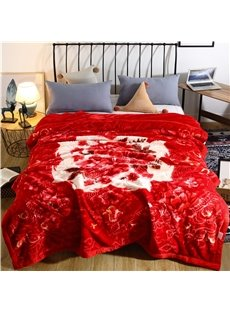 Graceful Floral Printing Red Flannel Fleece Bed Blanket