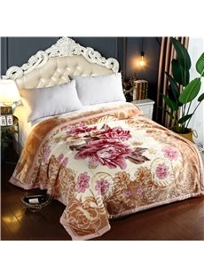 Blooming Flower Printing Brown Flannel Fleece Bed Blanket