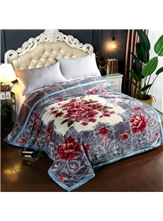 Red Flower Printing Grey Soft Flannel Fleece Bed Blanket