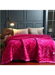 Rose Red Flower Printing Soft Flannel Fleece Bed Blanket