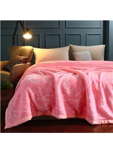 Sweet Pink Flower Printing Flannel Fleece Bed Blanket for Winter