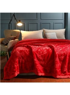 Flower Printing Anti-Pilling Flannel Fleece Bed Blanket