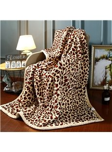 Yellow Leopard Printing Flannel Fleece Bed Blanket for Winter