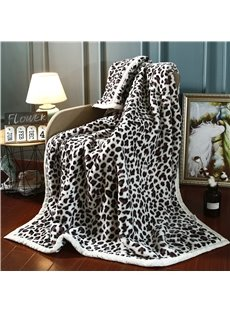 Black and White Leopard Print Flannel Fleece Bed Blankets