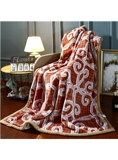 Plaid and Flower Printing Soft Flannel Fleece Brown Bed Blankets