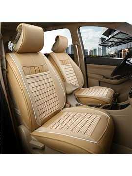 Ice Wire and Leather Simple Style Ventilation Front Single-seat Universal Car Seat Cover