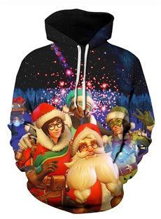 Christmas Pullover Lightweight Fastness Casual Style 3D Painted Hoodie