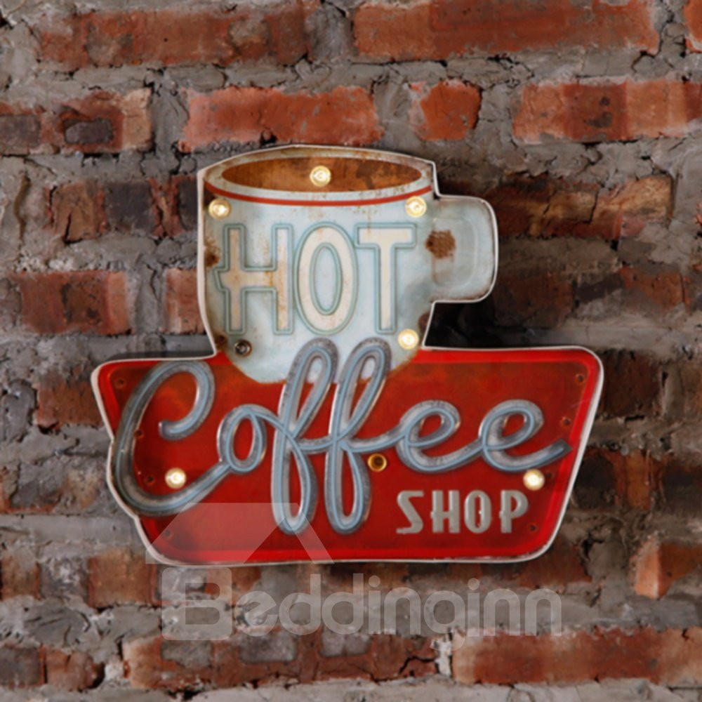 LED Coffee Lamp Decoration Steel Cafe Hanging on Dining Room Coffee Shop Wall