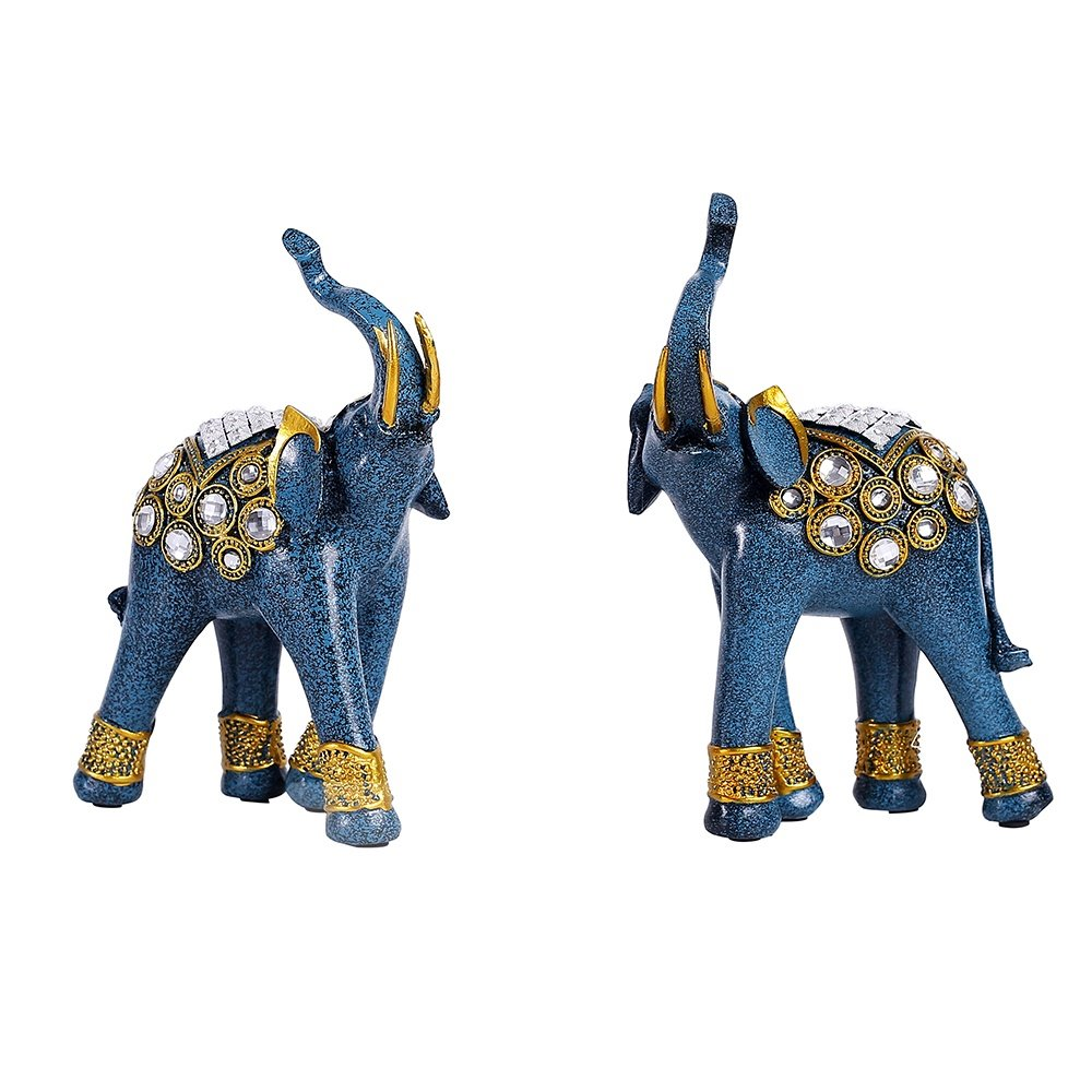 Blue Gold Elephant Resin Handicraft for Living Room Household Crafts Gifts