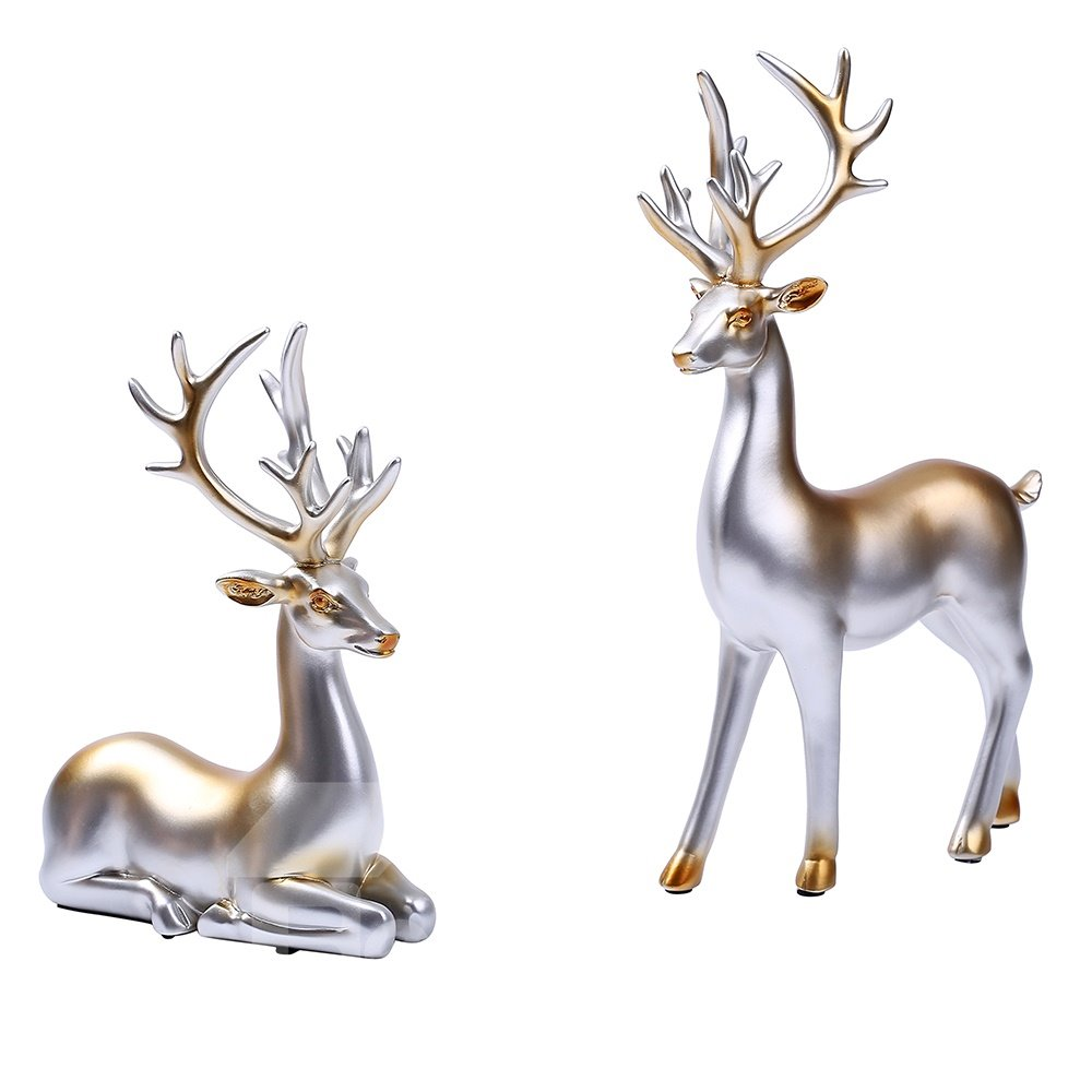 Silver Deer Handmade Decoration Beautiful Antlers Desk Decoration Gifts In Pair