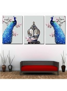 Peacock Pattern 3 Pieces Hanging Canvas Waterproof Eco-friendly Framed Wall Prints