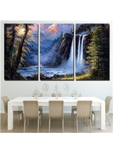 Creative Waterfall Pattern 3 Pieces Hanging Canvas Waterproof Eco-friendly Framed Wall Prints