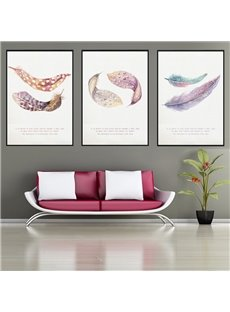 Feather Pattern 3 Pieces Hanging Canvas Waterproof Eco-friendly Framed Wall Prints