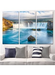 Waterfall Pattern 3 Pieces Hanging Canvas Waterproof Eco-friendly Framed Wall Prints